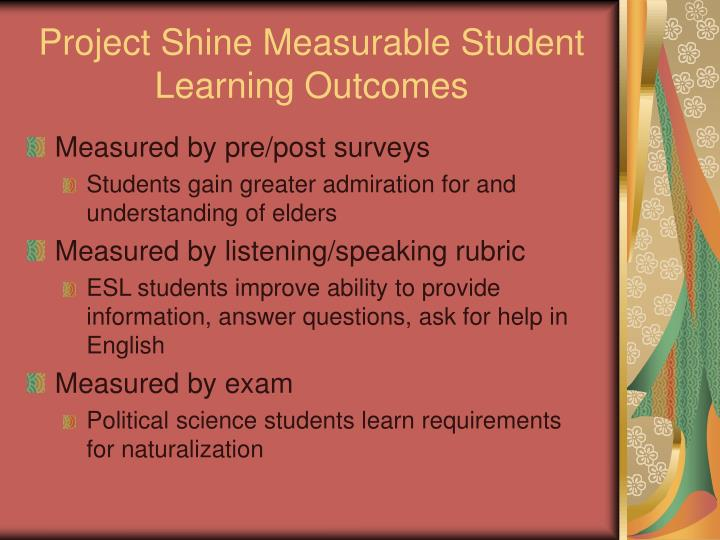 Project Shine Measurable Student Learning Outcomes