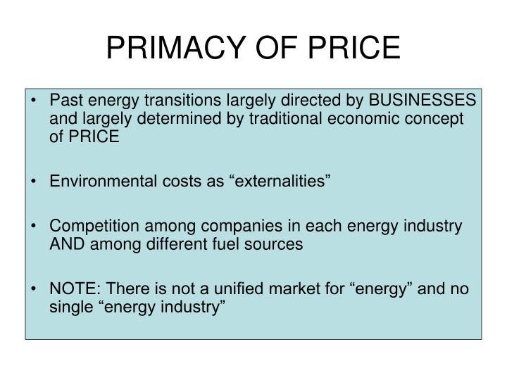 PRIMACY OF PRICE