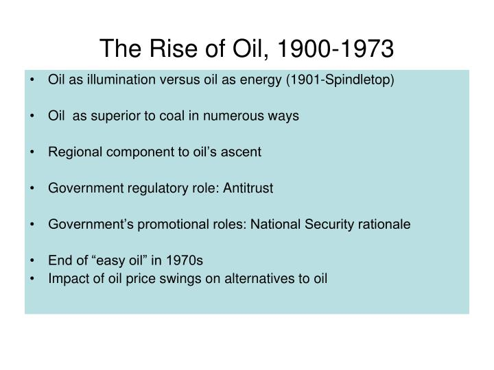 The Rise of Oil, 1900-1973
