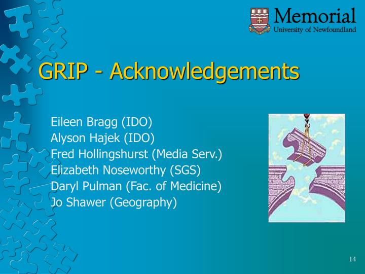 GRIP - Acknowledgements