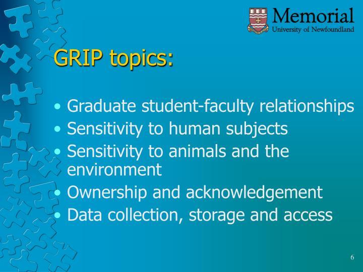 GRIP topics: