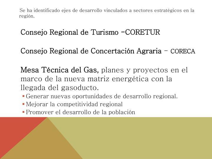 Se ha identificado ejes de desarrollo vinculados a sectores estratégicos en la región.