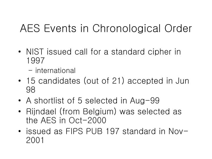AES Events in Chronological Order