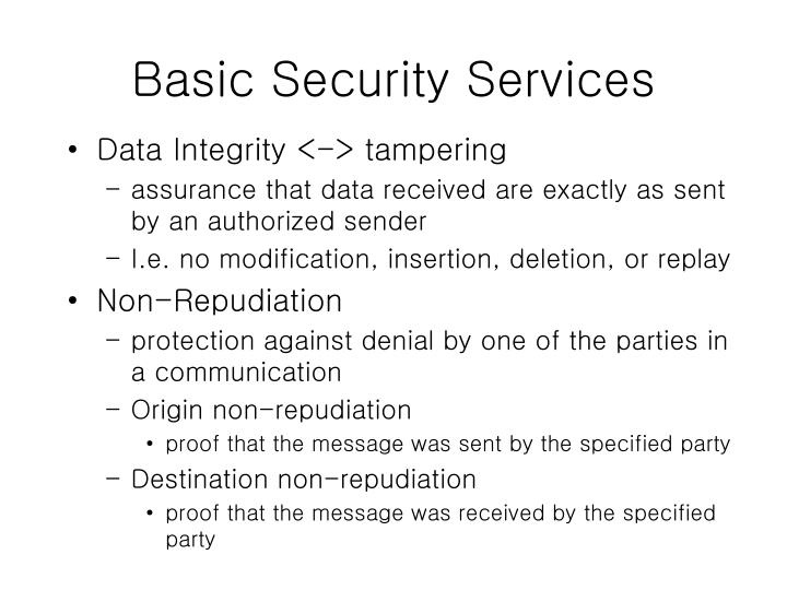 Basic Security Services