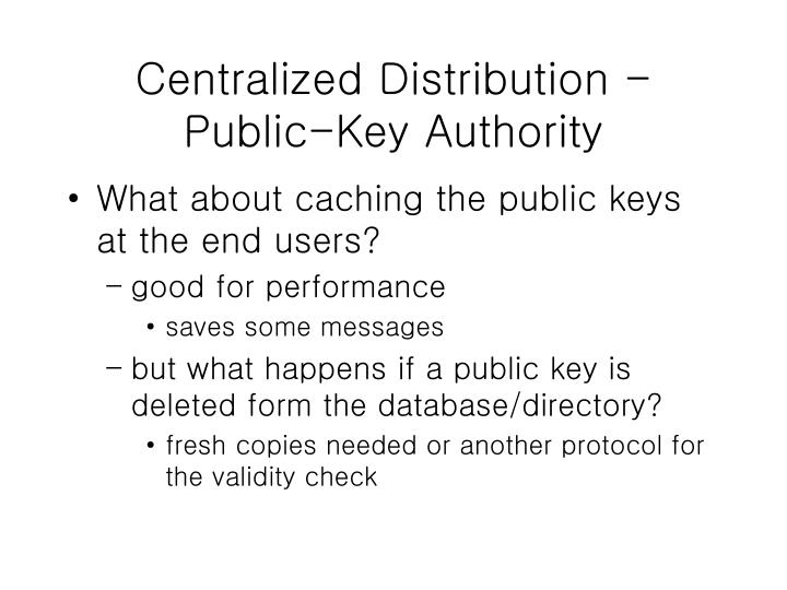 Centralized Distribution