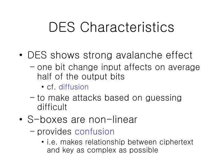 DES Characteristics