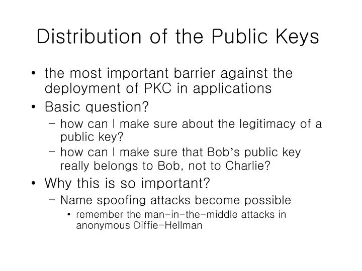 Distribution of the Public Keys