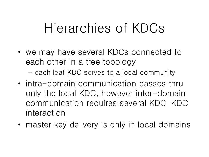 Hierarchies of KDCs