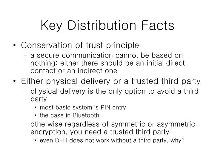 Key Distribution Facts