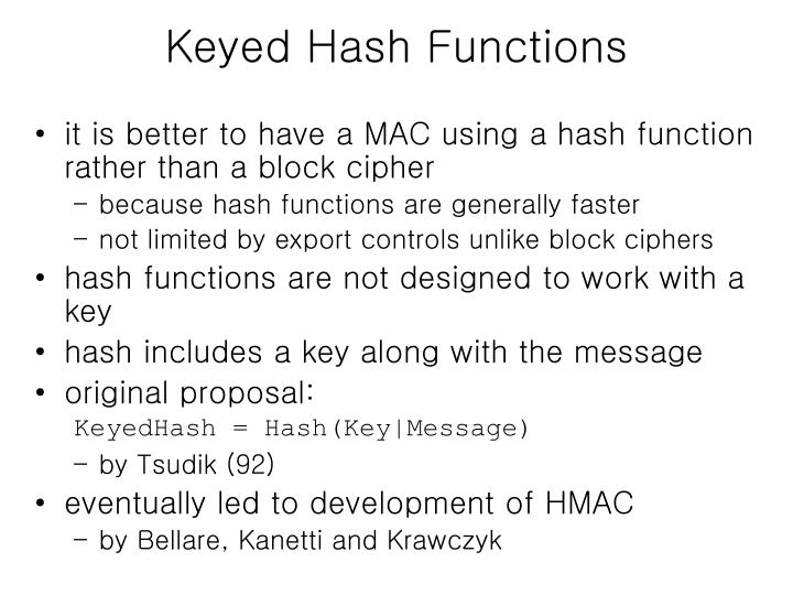 Keyed Hash Functions