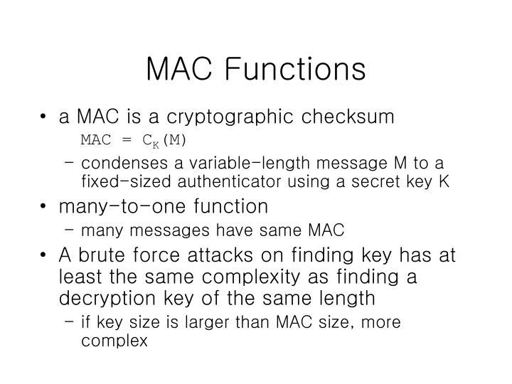 MAC Functions