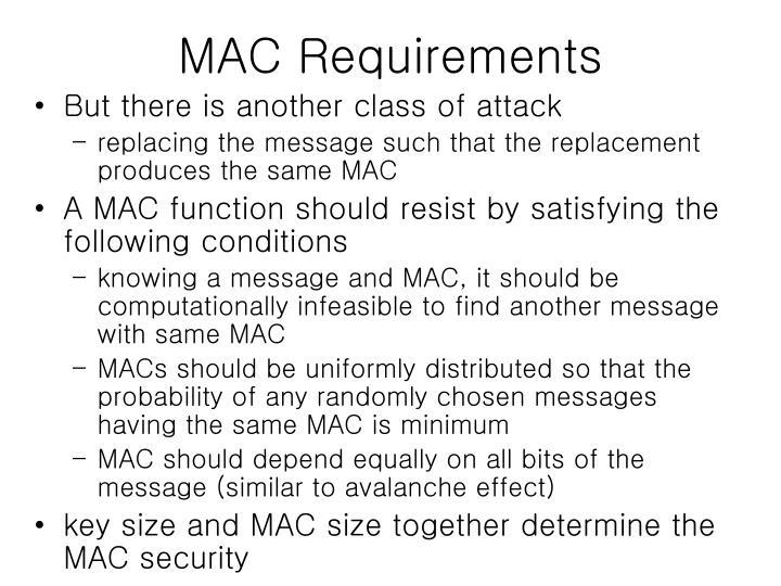 MAC Requirements