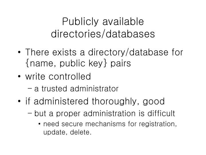 Publicly available directories/databases