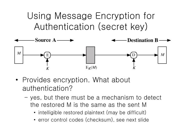 Using Message Encryption for Authentication (secret key)