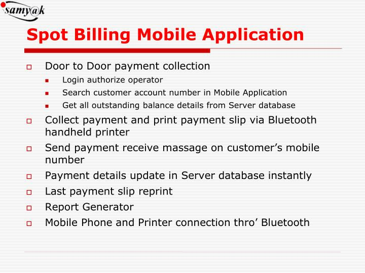 Spot Billing Mobile Application