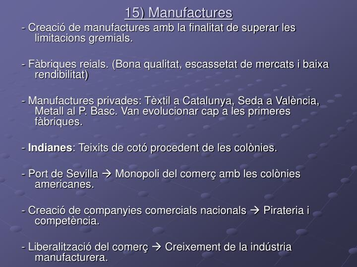 15) Manufactures