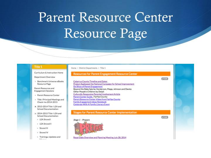 Parent resource center resource page