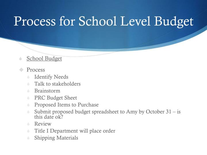 Process for School Level Budget