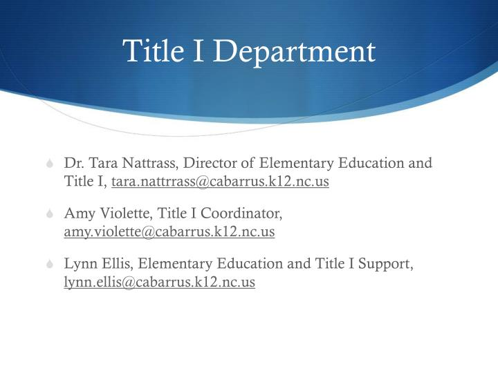Title I Department