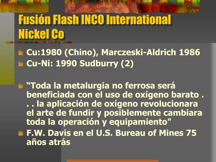 Fusión Flash INCO International Nickel Co