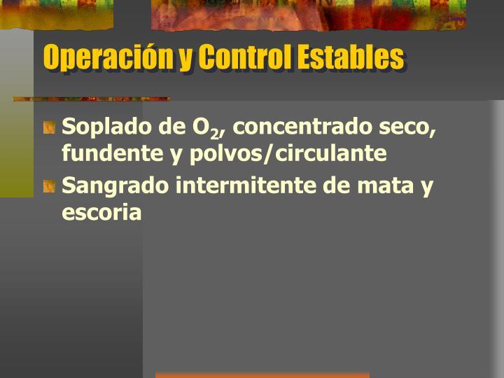 Operación y Control Estables