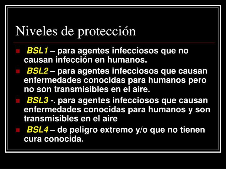 Niveles de protección