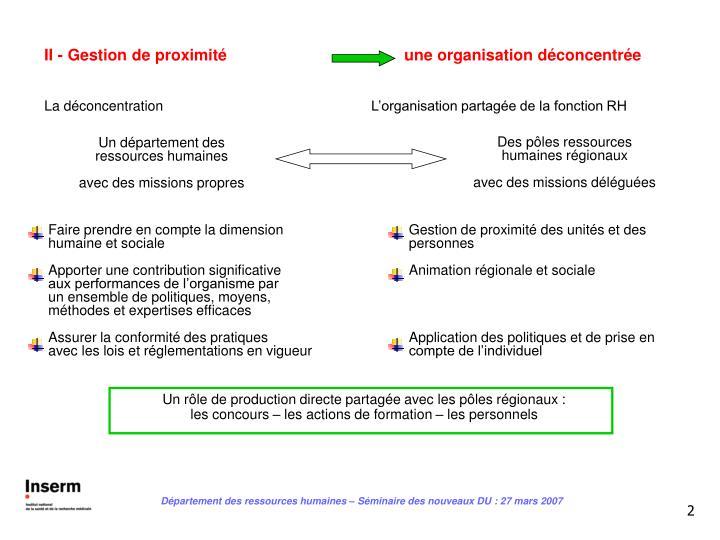 II - Gestion de proximitéune organisation déconcentrée