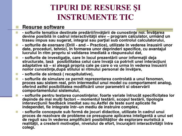 TIPURI DE RESURSE ŞI INSTRUMENTE TIC