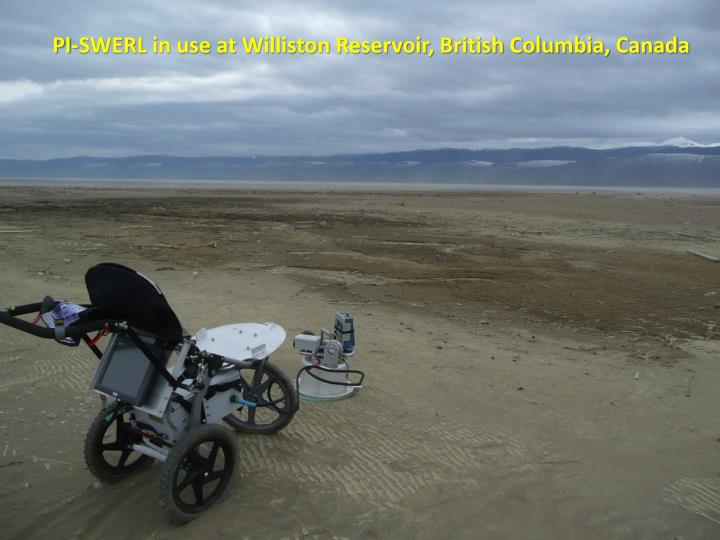 PI-SWERL in use at Williston Reservoir, British Columbia, Canada