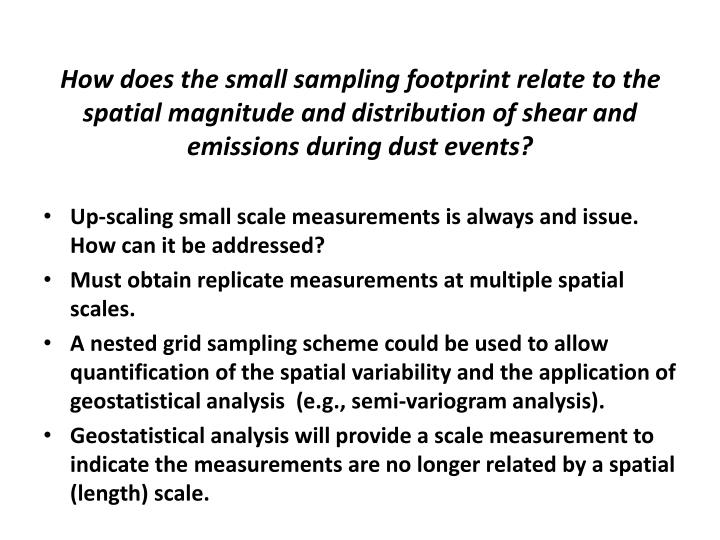 How does the small sampling footprint relate to the spatial magnitude and distribution of shear and emissions during dust events?