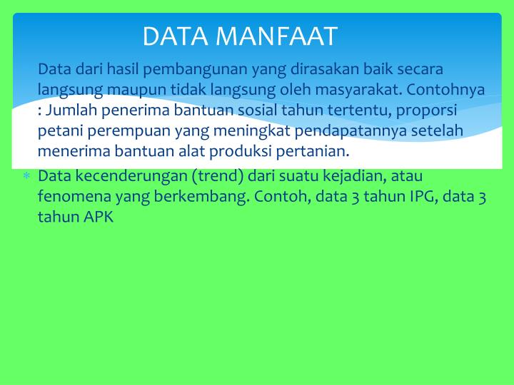 DATA MANFAAT