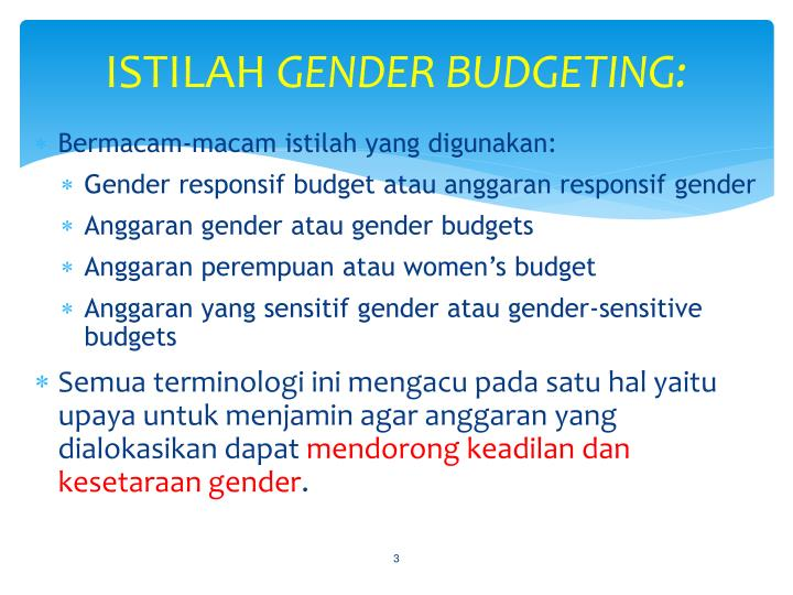 Istilah gender budgeting