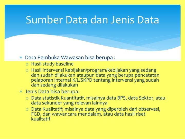 Sumber Data dan Jenis Data
