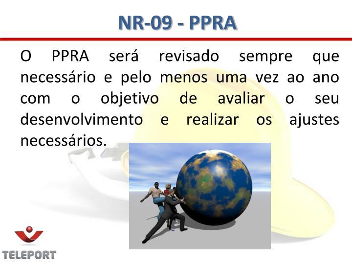 O PPRA será revisado sempre que necessário e pelo menos uma vez ao ano com o objetivo de avaliar o seu desenvolvimento e realizar os ajustes necessários.