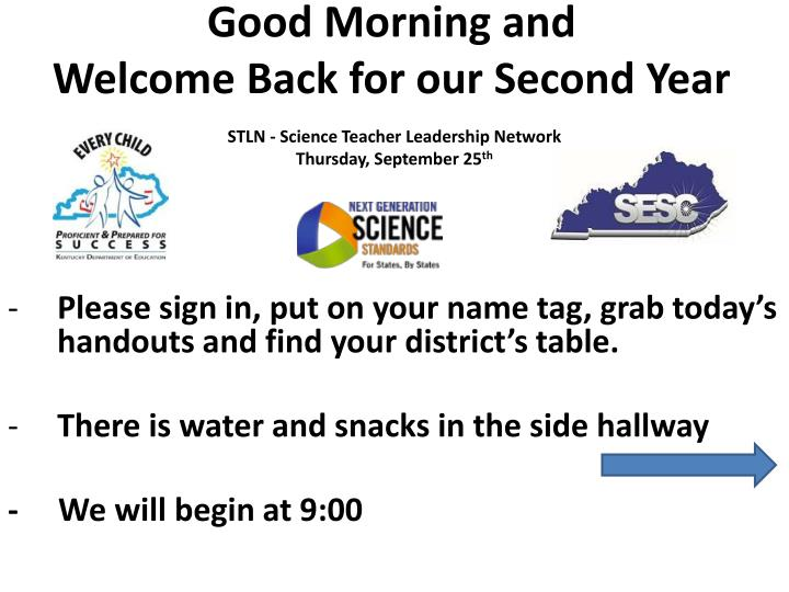 Good morning and welcome back for our second year