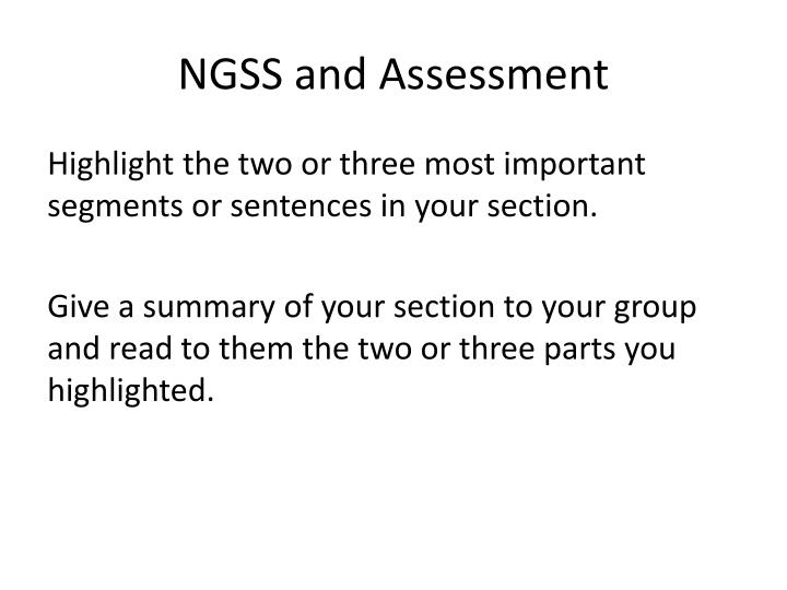 NGSS and Assessment