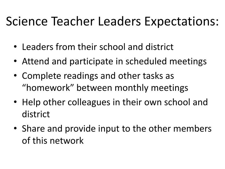 Science Teacher Leaders Expectations: