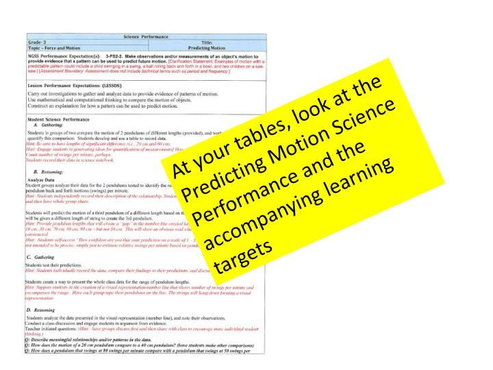 At your tables, look at the Predicting Motion Science Performance and the accompanying learning targets