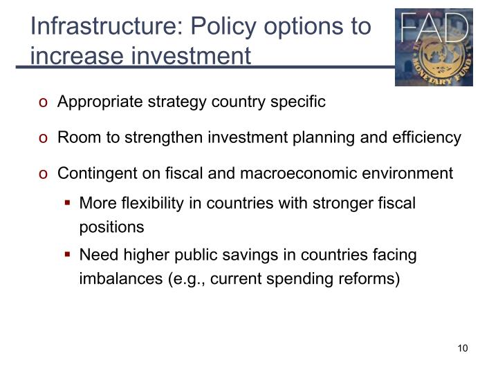Infrastructure: Policy options to increase investment