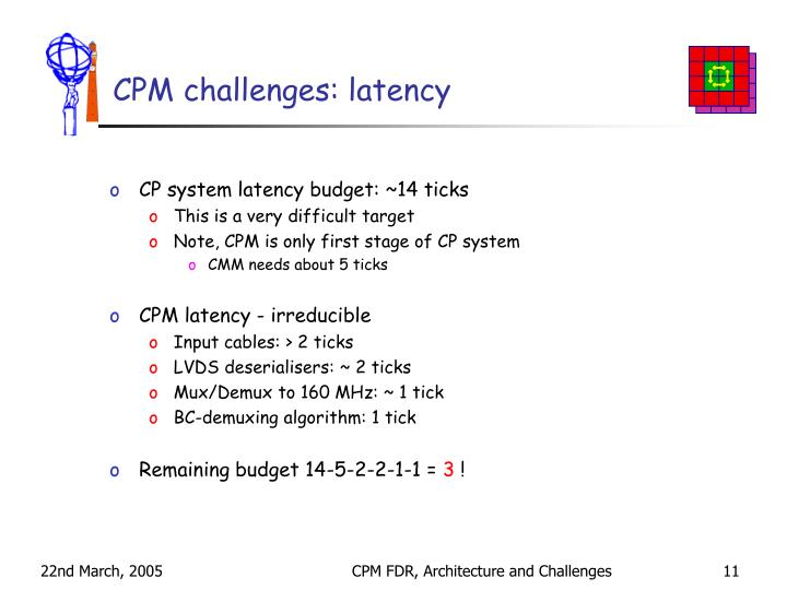 CPM challenges: latency