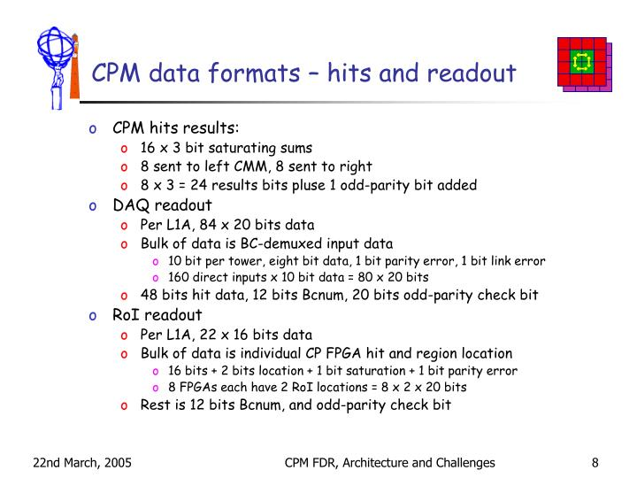 CPM data formats – hits and readout