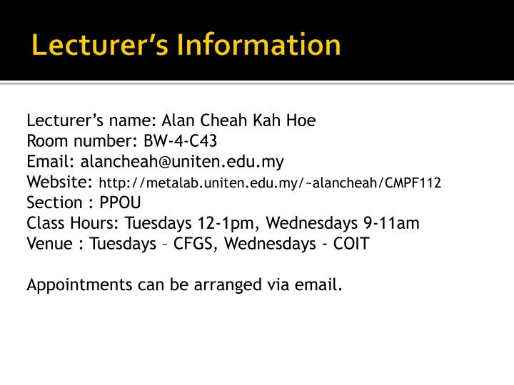 Lecturer's Information