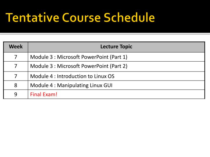 Tentative Course Schedule