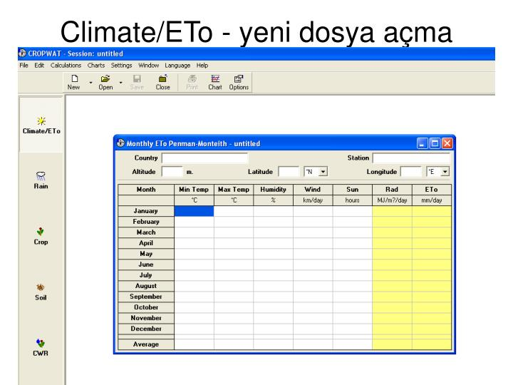 Climate/ETo - yeni dosya açma