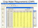 crop water requirements cwr