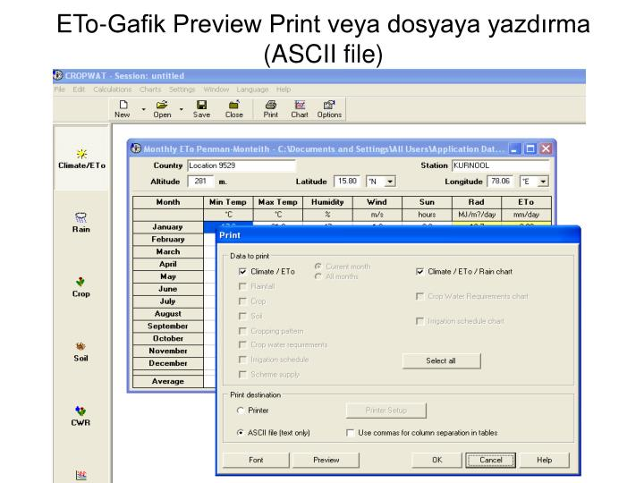 ETo-Gafik Preview Print veya dosyaya yazdırma (ASCII file)