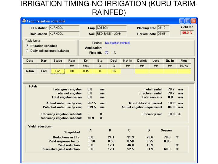 IRRIGATION TIMING-NO IRRIGATION (KURU TARIM-RAINFED)
