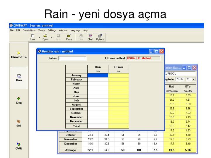Rain - yeni dosya açma