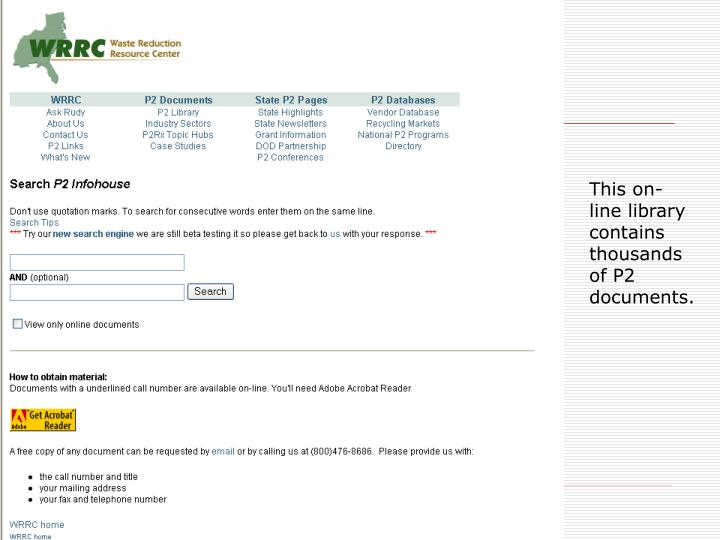 This on-line library contains thousands of P2 documents.