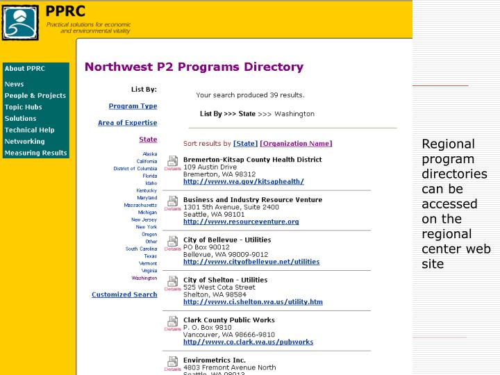 Regional program directories can be accessed on the regional center web site
